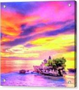 Tanah Lot Temple Sunset Bali Acrylic Print