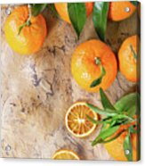 Tangerines With Leaves Acrylic Print