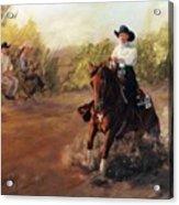 Tango Reining Horse Slide Stop Portrait Painting Acrylic Print