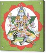 Tantrik Diagram Of Lord Shiva, Mantra Yantra ,indian Miniature Painting, Watercolor Artwork, India Acrylic Print