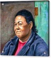 Taos Pueblo Woman Acrylic Print
