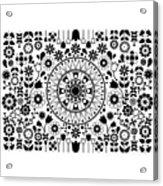 Tapiz Flores Black And White Acrylic Print