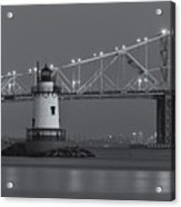 Tarrytown Lighthouse And Tappan Zee Bridge At Twilight II Acrylic Print by Clarence Holmes