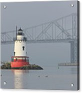 Tarrytown Lighthouse And Tappan Zee Bridge I Acrylic Print by Clarence Holmes