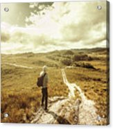 Tasmanian Man On Road In Nature Reserve Acrylic Print