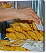 Tasty Hot Empanadas For Lunch In Angelmo Fish Market In Puerto Montt-chile Acrylic Print