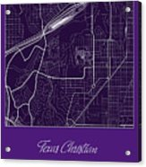 Tcu Street Map - Texas Christian University Fort Worth Map Acrylic Print