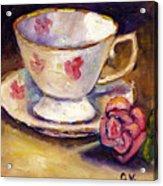 Tea Cup With Rose Still Life Grace Venditti Montreal Art Acrylic Print