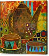 Tea Party With Klimt Acrylic Print