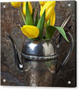 Tea Pot And Tulips Acrylic Print by Garry Gay