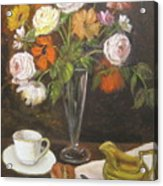 Teacup And Flowers Acrylic Print