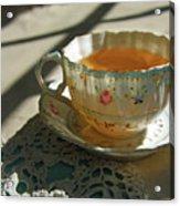 Teacup On Lace Acrylic Print