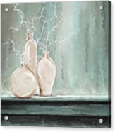 Teal And White Art Acrylic Print