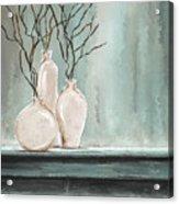 Teal Elegance - Teal And Gray Art Acrylic Print
