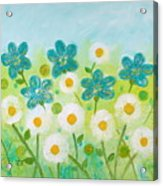 Teal Flowers And Daisies Acrylic Print