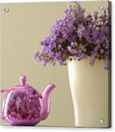 Teapot And Flowers In A Vase Acrylic Print