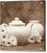 Teapot With Daisies I Acrylic Print