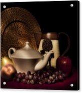 Teapot With Fruit Still Life Acrylic Print by Tom Mc Nemar