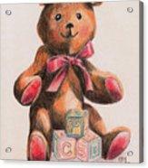 Teddy With Blocks Acrylic Print