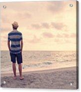 Teen Boy On Beach Acrylic Print