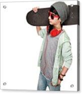 Teen Boy With Skateboard Acrylic Print