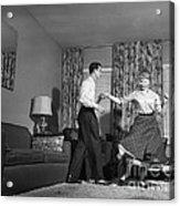 Teen Couple Dancing At Home, C.1950s Acrylic Print
