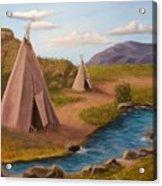 Teepees On The Plains Acrylic Print