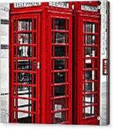 Telephone Boxes In London Acrylic Print by Elena Elisseeva