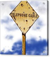 Telephone Cable Sign Acrylic Print