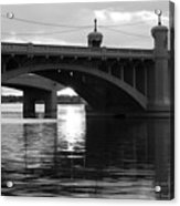 Tempe Town Lake Bridge Black And White Acrylic Print
