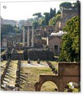 Temple Of Vesta. Arch Of Titus. Temple Of Castor And Pollux. Forum Romanum. Roman Forum. Rome Acrylic Print by Bernard Jaubert