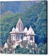 Temple In The Distance - Rishikesh India Acrylic Print