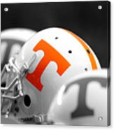 Tennessee Football Helmets Acrylic Print by University of Tennessee Athletics