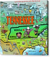 Tennessee Usa Cartoon Map Acrylic Print