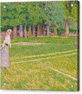 Tennis At Hertingfordbury Acrylic Print by Spencer Frederick Gore