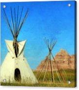 Tepee In Badlands Acrylic Print