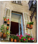 Terra Cotta Pots Outside Window In Old Town Nice, France Acrylic Print