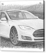 Tesla P58d Electric Car Pencil Drawing Acrylic Print
