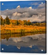 Teton Fall Foliage And Fog Acrylic Print