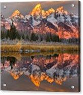 Teton Mountains Sunrise Rainbow Acrylic Print