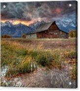 Teton Nightfire At The Ta Moulton Barn Acrylic Print