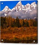 Teton Peaks Above Fall Foliage Acrylic Print