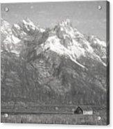 Teton Range Charcoal Sketch Acrylic Print