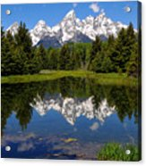 Teton Reflection Acrylic Print by Alan Lenk