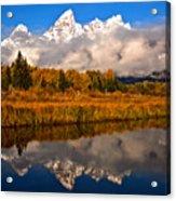 Teton Snow Cap Reflections Acrylic Print