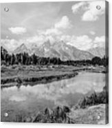 Tetons At Schwabacher Landing Monochrome Acrylic Print