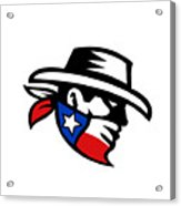 Texas Bandit Cowboy Side Retro Acrylic Print
