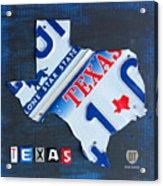 Texas License Plate Map Acrylic Print