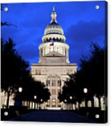 Texas State Capitol Floodlit At Night, Austin, Texas - Stock Image Acrylic Print