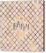 Text Art So Happy - Orange Acrylic Print